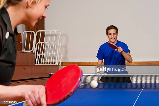 Table tennis practicing