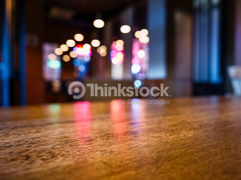 Table top Bar Blurred colourful lighting background Party event : Stock Photo