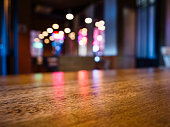 Table top Bar counter desk Blurred colourful lighting background Party event