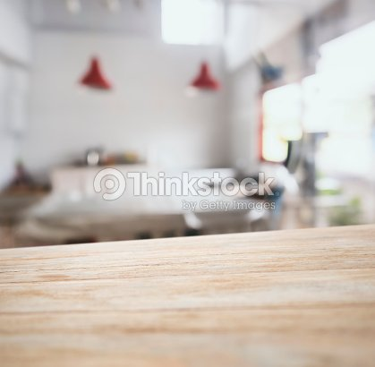 Table top counter bar with blurred kitchen background - Cocina en perspectiva ...