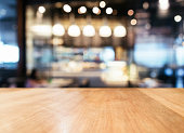 Table top counter with Blurred Bar restaurant cafe interior Lighting decoration background