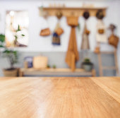 Table top Wooden counter Blurred Kitchen Background Cottage style