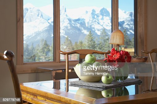 Table with bowl of apples : Stock Photo