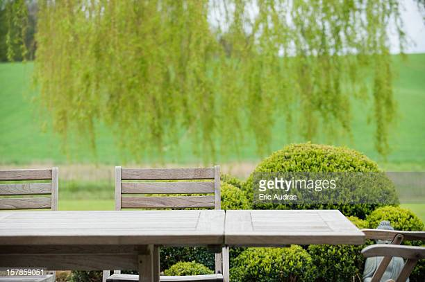 Table with chairs in a garden
