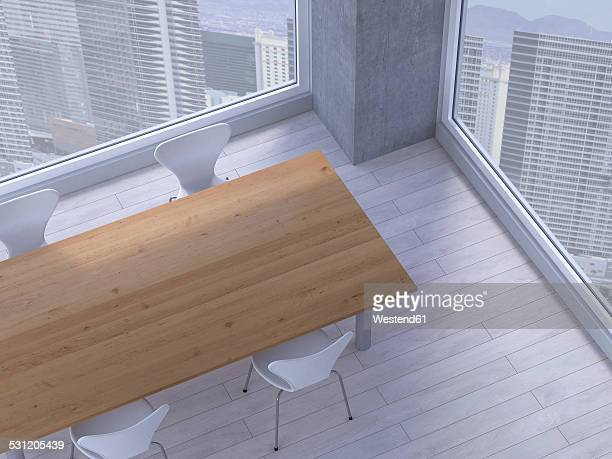 Table with chairs in a meeting room of a modern office, 3D Rendering