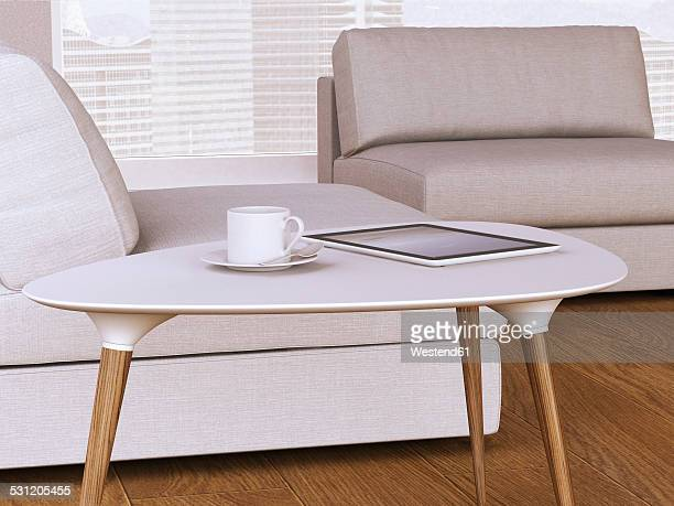 Table with cup and digital tablet, 3D Rendering