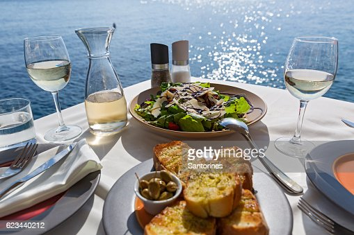 Table with food and wine : Stock Photo