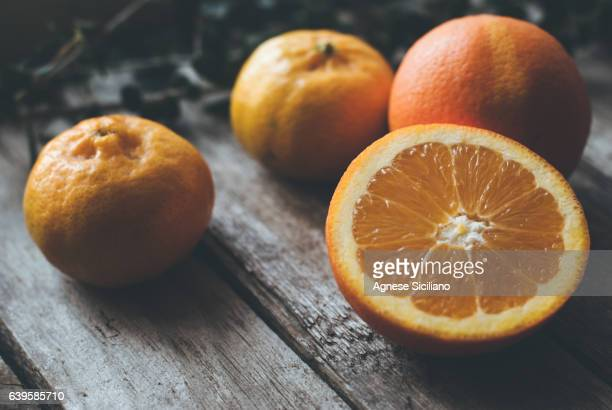 Table with fresh oranges
