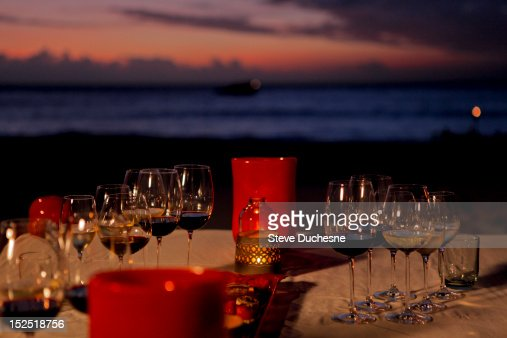 Table with Glasses of wines for degustation : Stock Photo