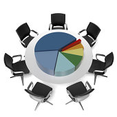 table with pie chart  isolated on a white background. 3d render