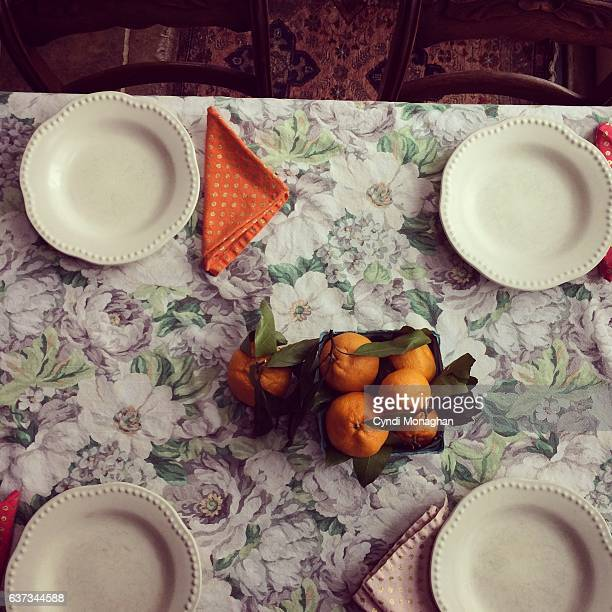 Table with Satsuma Oranges