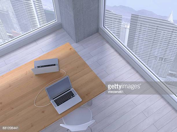 Table with two connected laptops, 3D Rendering