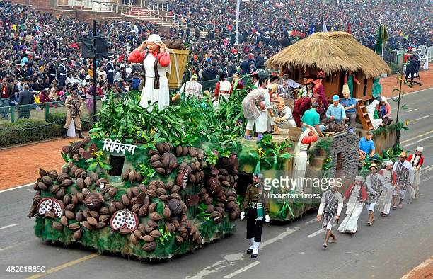 Tableau of Indian State of Sikkim move past during Republic Day full dress rehearsal on January 23 2014 in New Delhi India India's Prime Minister...