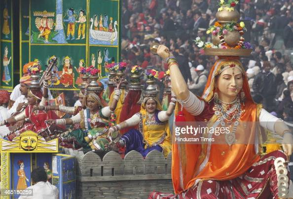 Tableau of Rajasthan on display during the 65th Republic Day parade at Rajpath on January 26 2014 in New Delhi India India adopted its democratic...