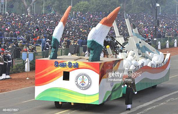 DRDO tableau passing through the saluting base during the full dress rehearsal for Republic Day Parade at Rajpath on January 23 2014 in New Delhi...