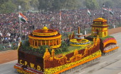 Tableaux of CPWD on display during the 65th Republic Day parade at Rajpath on January 26 2014 in New Delhi India India adopted its democratic...