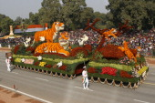 CPWD tableaux on display during the Republic Day parade at Rajpath in New Delhi on Wednesday January 26 2011