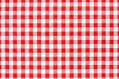Red and white gingham tablecloth texture background, high detailed.