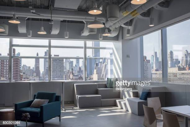 Tables and chairs are seen in the common space of Alexandria LaunchLabs in the Alexandria Center For Life Science in New York US on Thursday Aug 3...