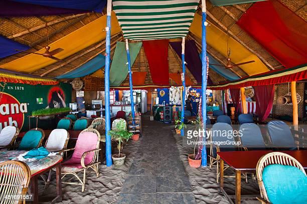 Tables and chairs in a restaurant German Bakery Arambol Beach Arambol North Goa Goa India