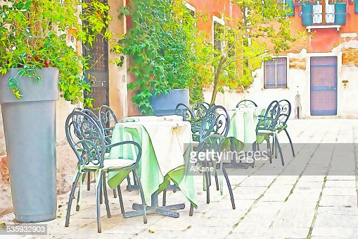 tables and chairs in water color : Stock Photo