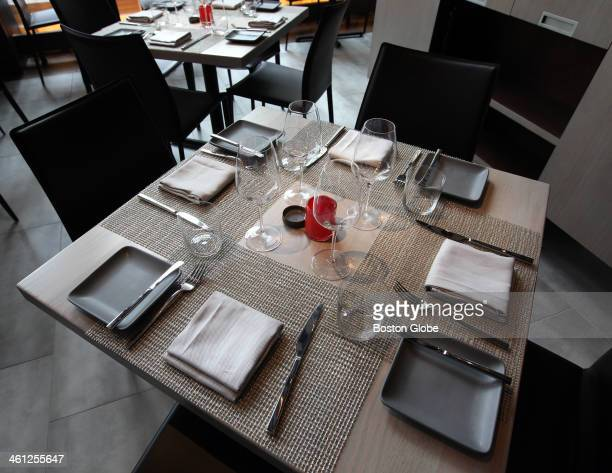 Tables are set in Market the hotel's restaurant W Boston the new hotel at 100 Stuart Street will open October 29 2009 It was photographed on Thursday...