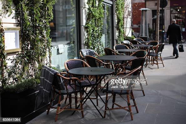 Tables are set outside a restaurant in Marylebone are pictured on February 16 2017 in London England The Association for Licensed Multiple Retailers...