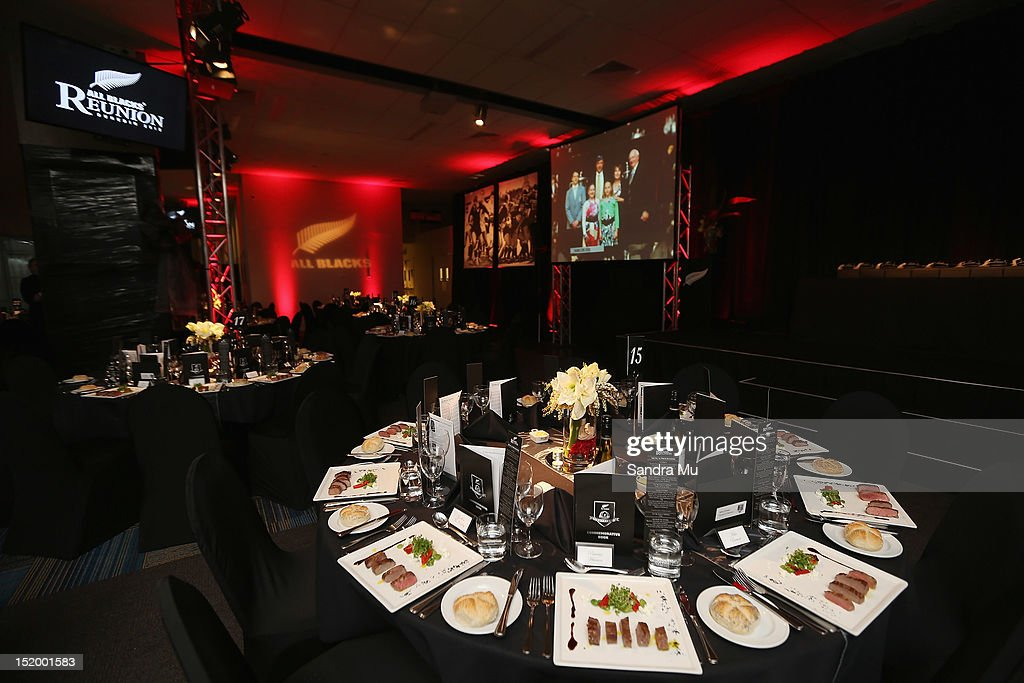 Tables are set up during the New Zealand All Blacks reunion dinner on September 14, 2012 in Dunedin, New Zealand.