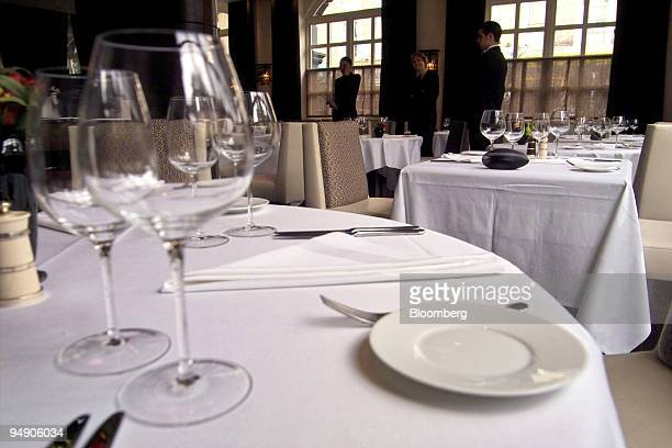Tables have been set in preparation for the lunchtime crowd at The Ledbury restaurant in the Notting Hill section of London on Monday August 1 2005...