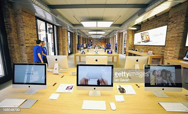 Tables of Apple Mac products on display in the new Apple Store In Covent Garden on August 5 2010 in London England The New flagship Apple Store is...