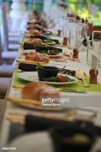 Tables prepared for a wedding banquet