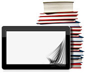 Horizontal black tablet computer with blank pages and a stack of books. Isolated on white background