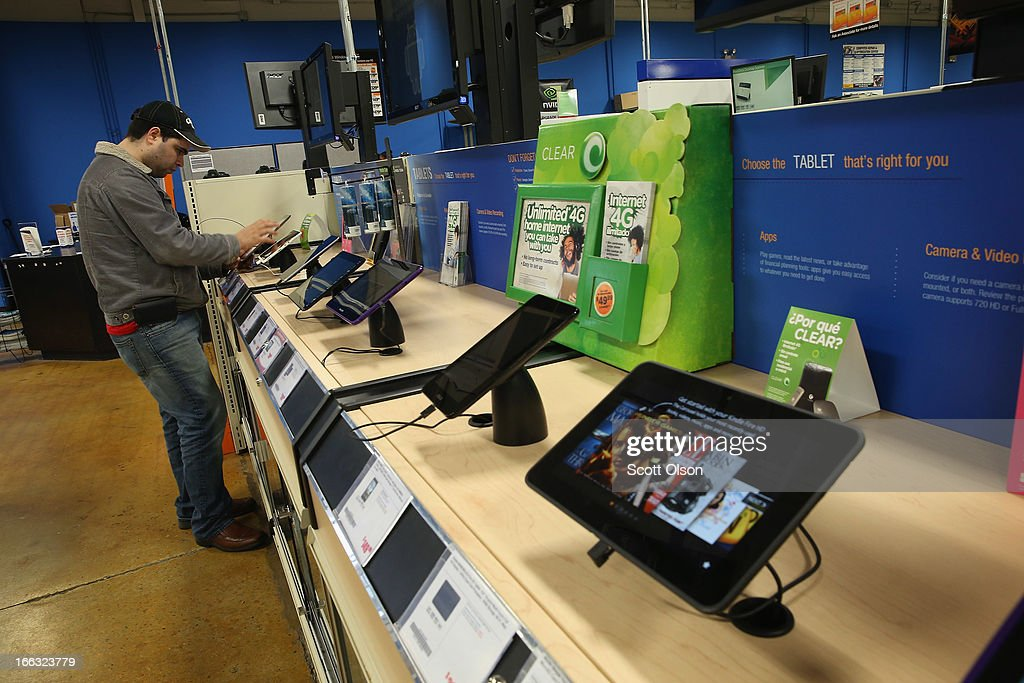 Tablet computers are offered for sale at a Tiger Direct store on April 11, 2013 in Chicago, Illinois. According to a recent report, sales of personal computers have been experiencing double-digit declines as consumers look toward tablets and smart phones to fill their computing needs.