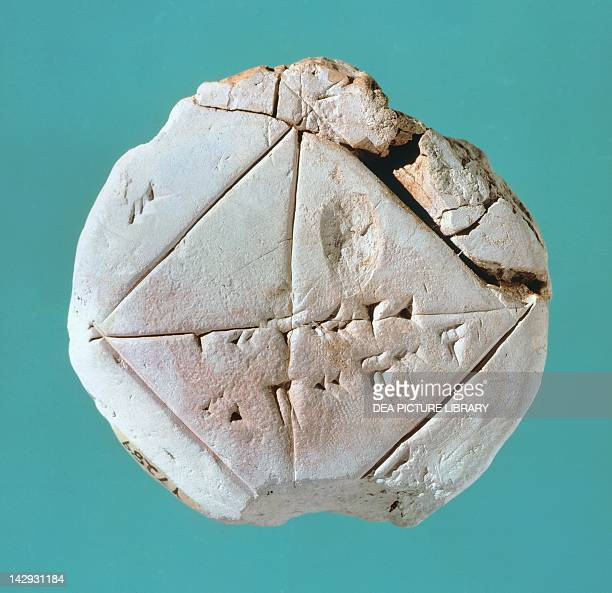 Tablet depicting square and diagonal geometric shapes Babylonian civilisation 2nd Millennium BC New Haven Yale University Art Gallery