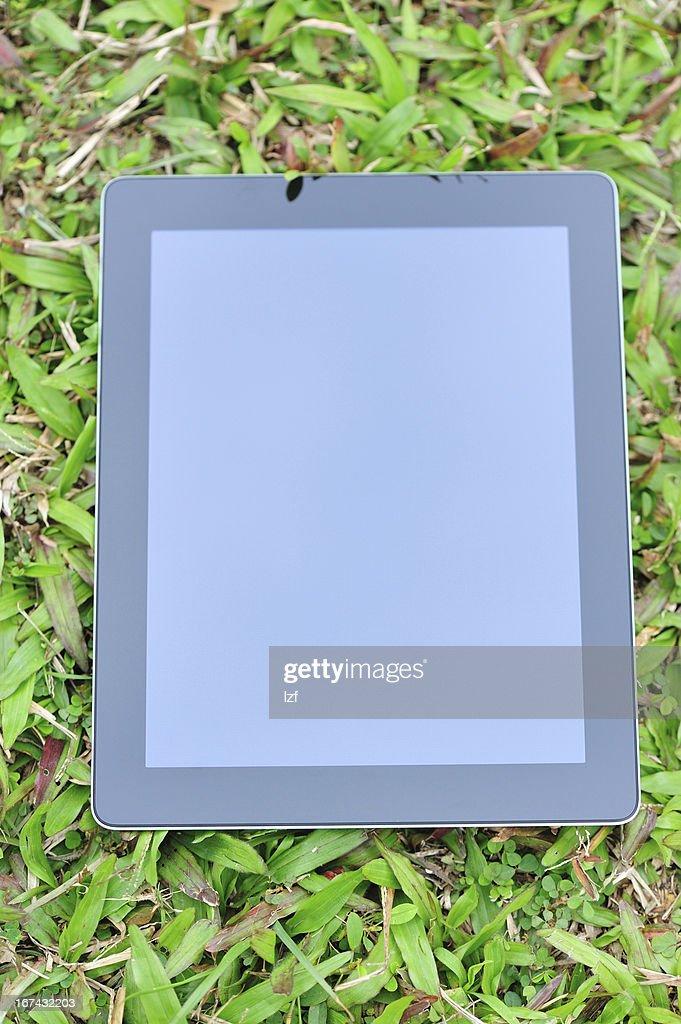 tablet on green grass : Foto de stock