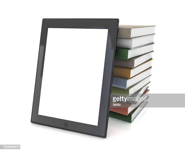 Tablet PC and Stack of Books