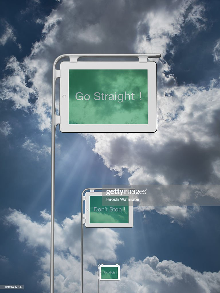 Tablet PC sign boards displays some keywords : Stock Photo