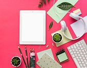 Tablet PC, succulent plants and office supplies over pastel  background. Office table. Flat lay mock up for social media blog