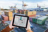 Tablet with logistics app in container port