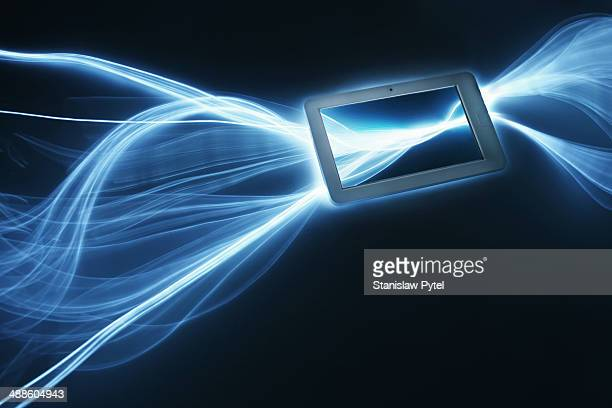 Tablet with streaks of light around