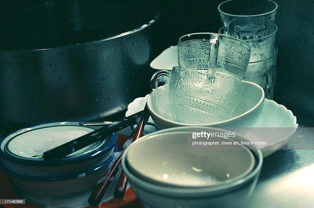 Tableware under washing : Stock Photo