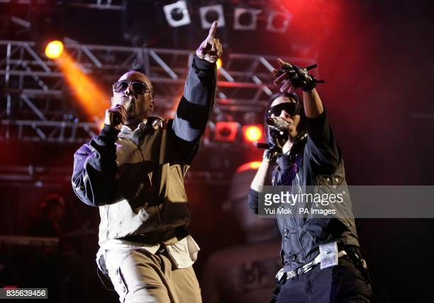 Taboo and apldeap of Black Eyed Peas performing during the 2009 Glastonbury Festival at Worthy Farm in Pilton Somerset