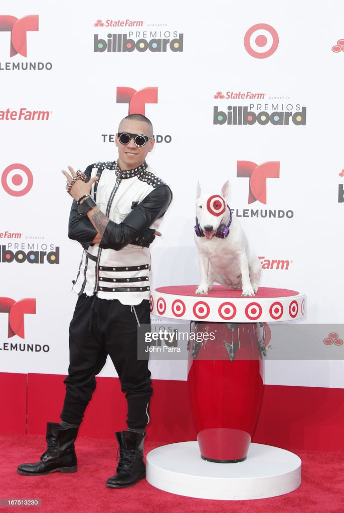 Taboo celebrates with Bullseye, Target's Beloved Bull Terrier Mascot, at the 2013 Billboard Latin Music Awards at BankUnited Center on April 25, 2013 in Miami, Florida.