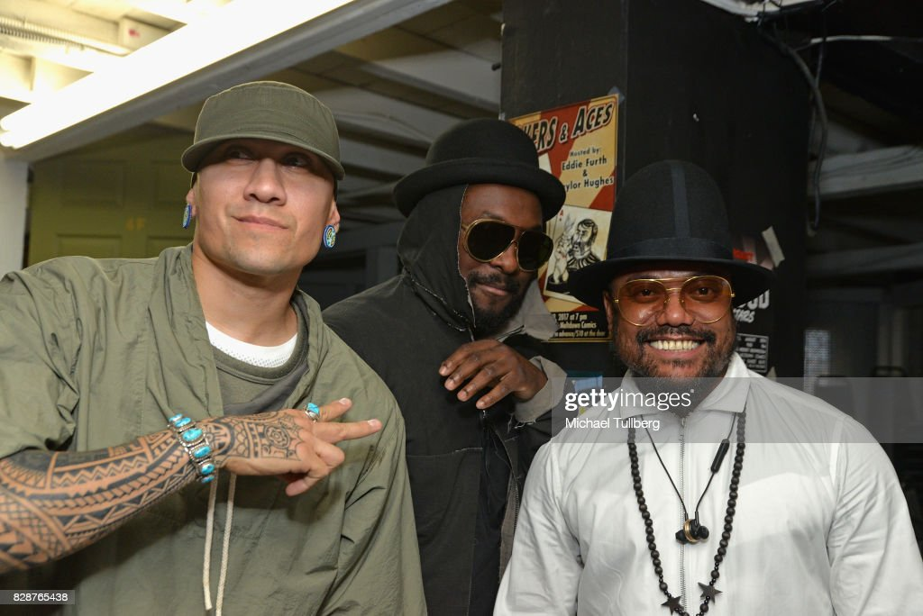Taboo, will.i.am and apl.de.ap of The Black Eyed Peas pose backstage at an in-store signing and livestream for their new graphic novel 'Masters of the Sun' at Meltdown Comics and Collectibles on August 9, 2017 in Los Angeles, California.