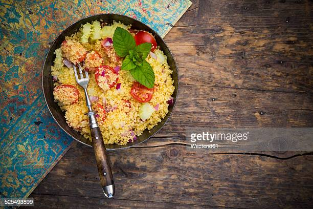 Taboule, Couscous Salad with tomato, cucumber, red onion and peppermint