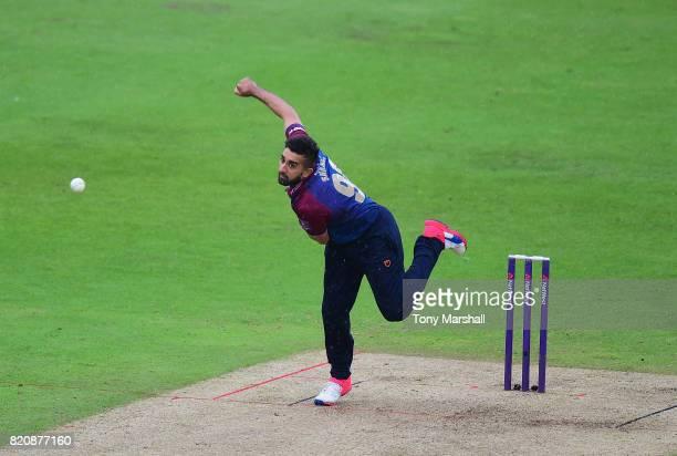 Tabraiz Shamsi of Northamptonshire Steelbacks bowls during the NatWest T20 Blast between Nottinghamshire Outlaws and Northamptonshire Steelbacks at...