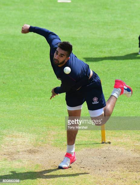 Tabraiz Shamsi of Northamptonshire Steelbacks bowls during the warm up before the NatWest T20 Blast between Nottinghamshire Outlaws and...