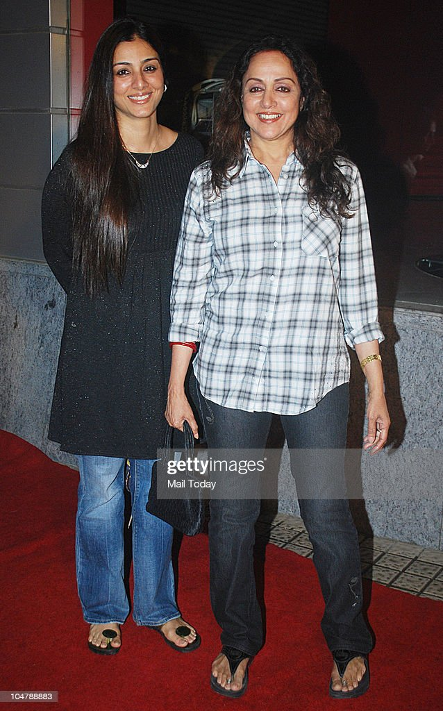 Tabu and <a gi-track='captionPersonalityLinkClicked' href=/galleries/search?phrase=Hema+Malini&family=editorial&specificpeople=1026787 ng-click='$event.stopPropagation()'>Hema Malini</a> at the premiere of the film Robot in Mumbai on October 4, 2010.