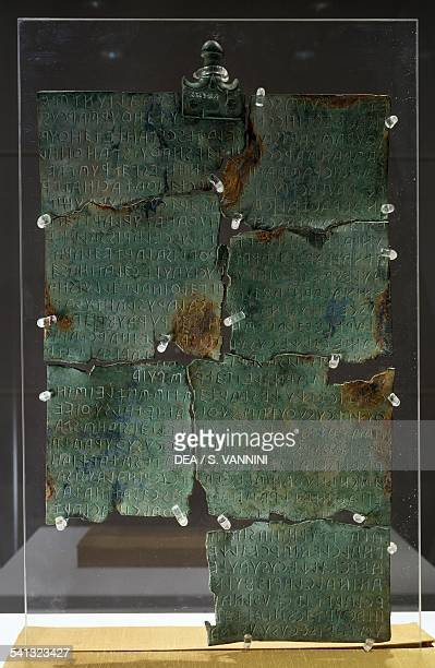 Tabula Cortoniensis Side A bronze plate with Etruscan inscription Etruscan civilisation 2nd century BC Cortona Museo Dell'Accademia Etrusca