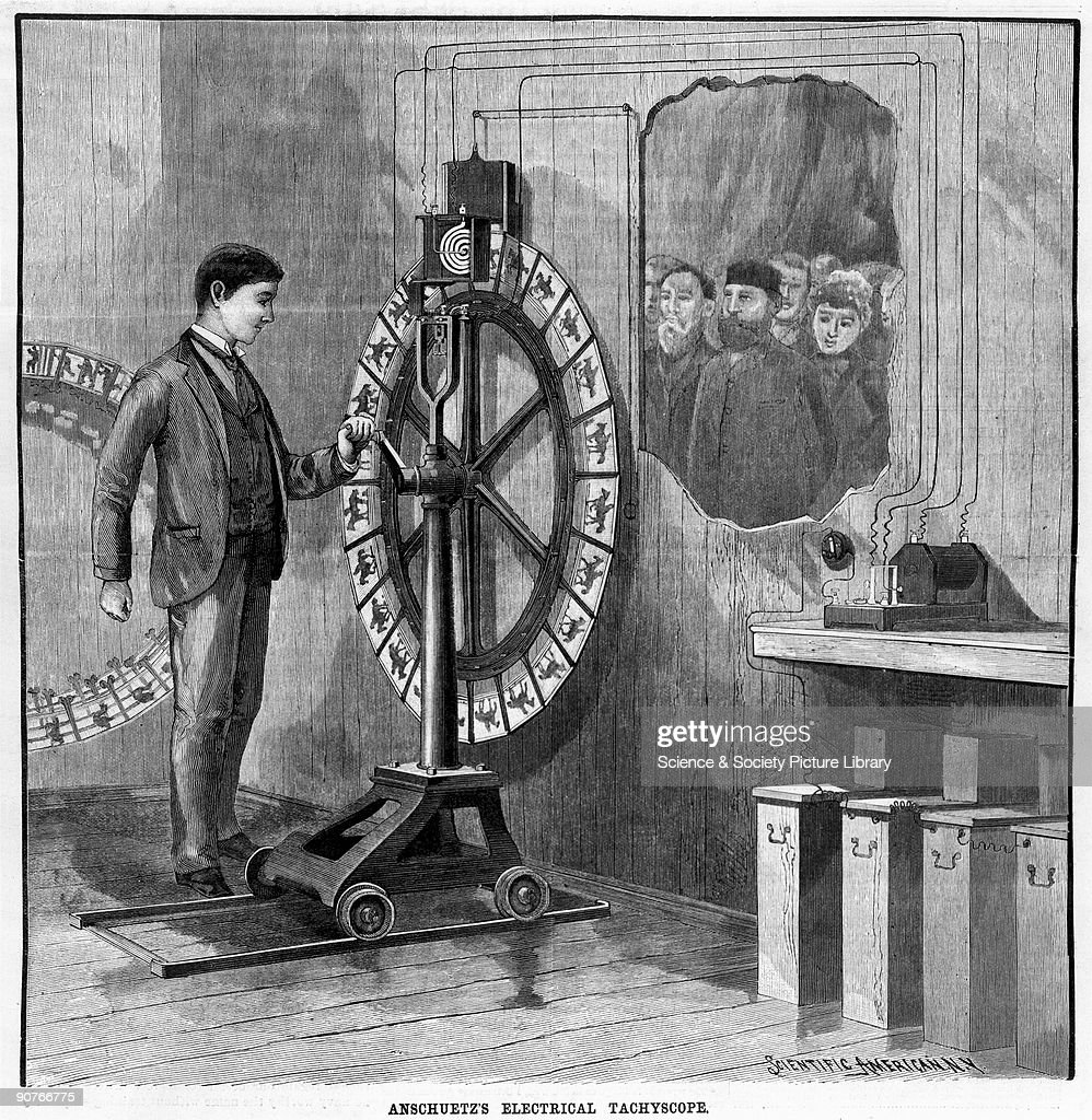 A Tachyscope is an early form of animated picture machine, in which chronophotographs were mounted on the periphery of a rotating wheel in order to show motion. Devised by Otto Anschuetz of Berlin, this illustration is taken from the journal 'Scientific American', (New York, 16th November 1889).